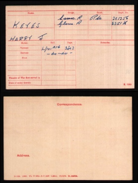 Harry Joesph Keyes Medal Card
