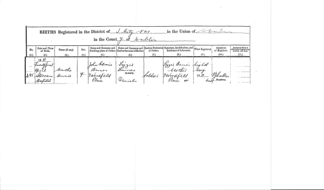 Martha Annie Barnes Birth Cert
