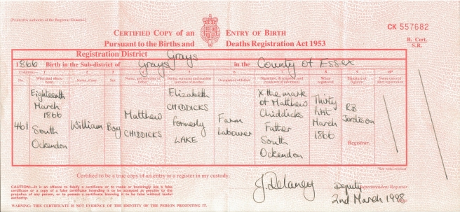 William Chiddicks Birth