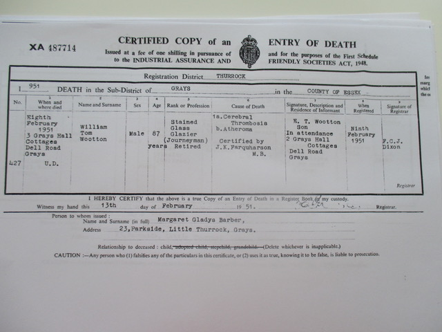 William Tom Wootton Death Cert