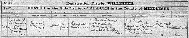 Joseph Keyes Death Certificate