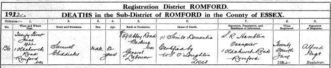 Samuel Chiddicks Death Certificate
