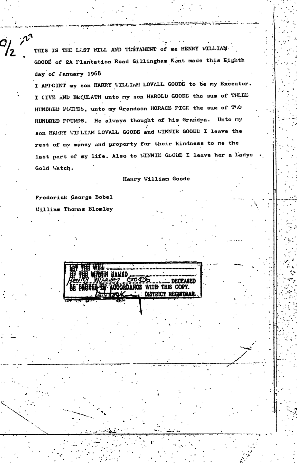 Henry William Goode Will Page 2