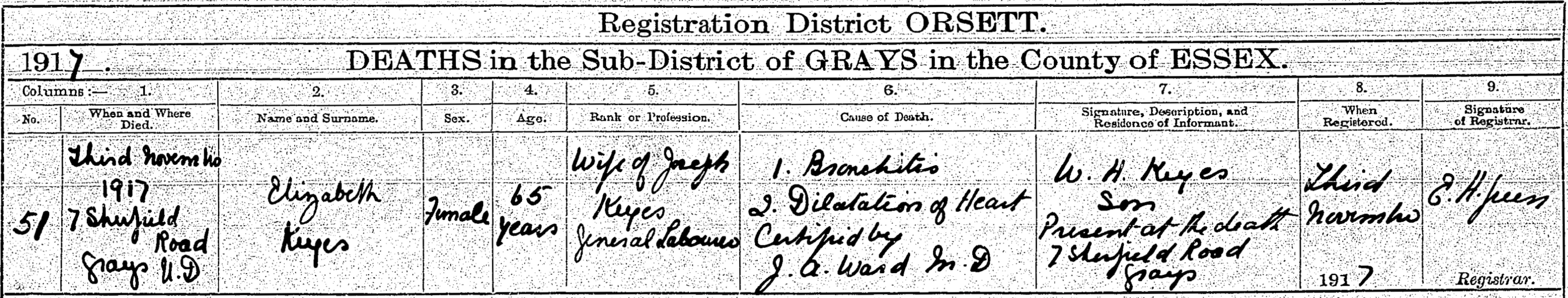 Elizabeth Keyes Death Certificate