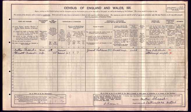 Elizabeth Lake Census Return 1911