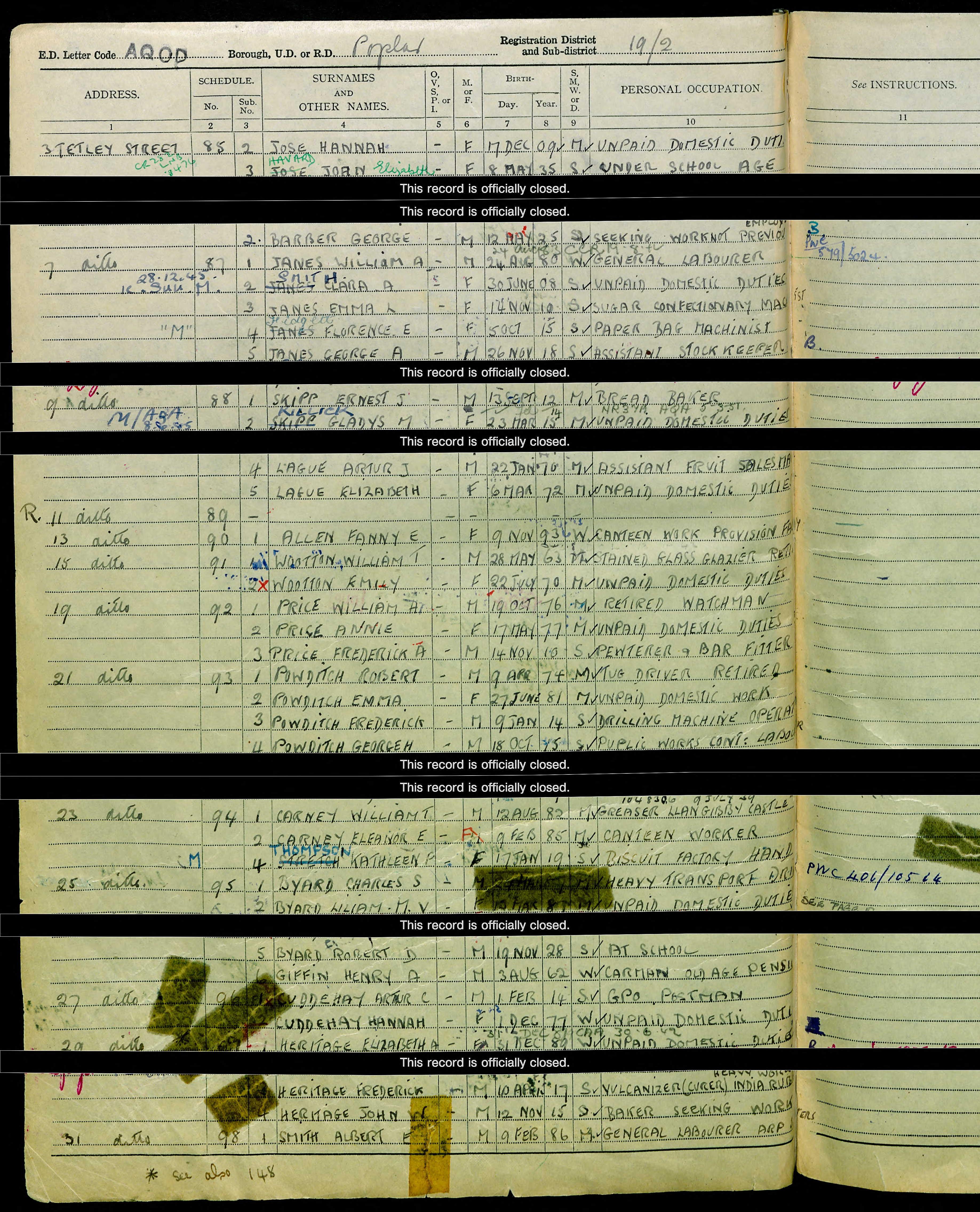 Emily Dodd Butterworth Census Return 1939