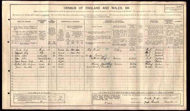 Frank Day Census Return 1911
