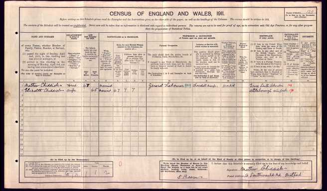 matthew Chiddicks 1911 Census