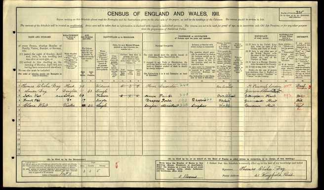 Thomas Elisha Day Census Return 1911