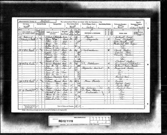 William Tom Wootton Census Retun 1891