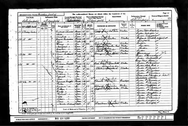 William Tom Wootton Census Retun 1901