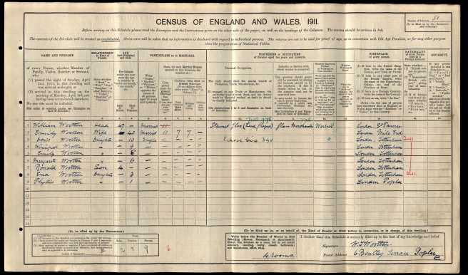 William Tom Wootton Census Retun 1911