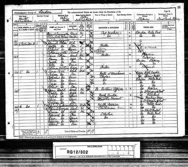 Henry James Dodd Census Returns 1891