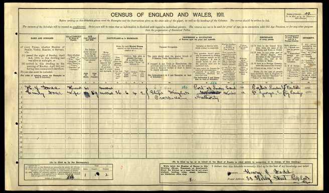 Henry James Dodd Census Returns 1911