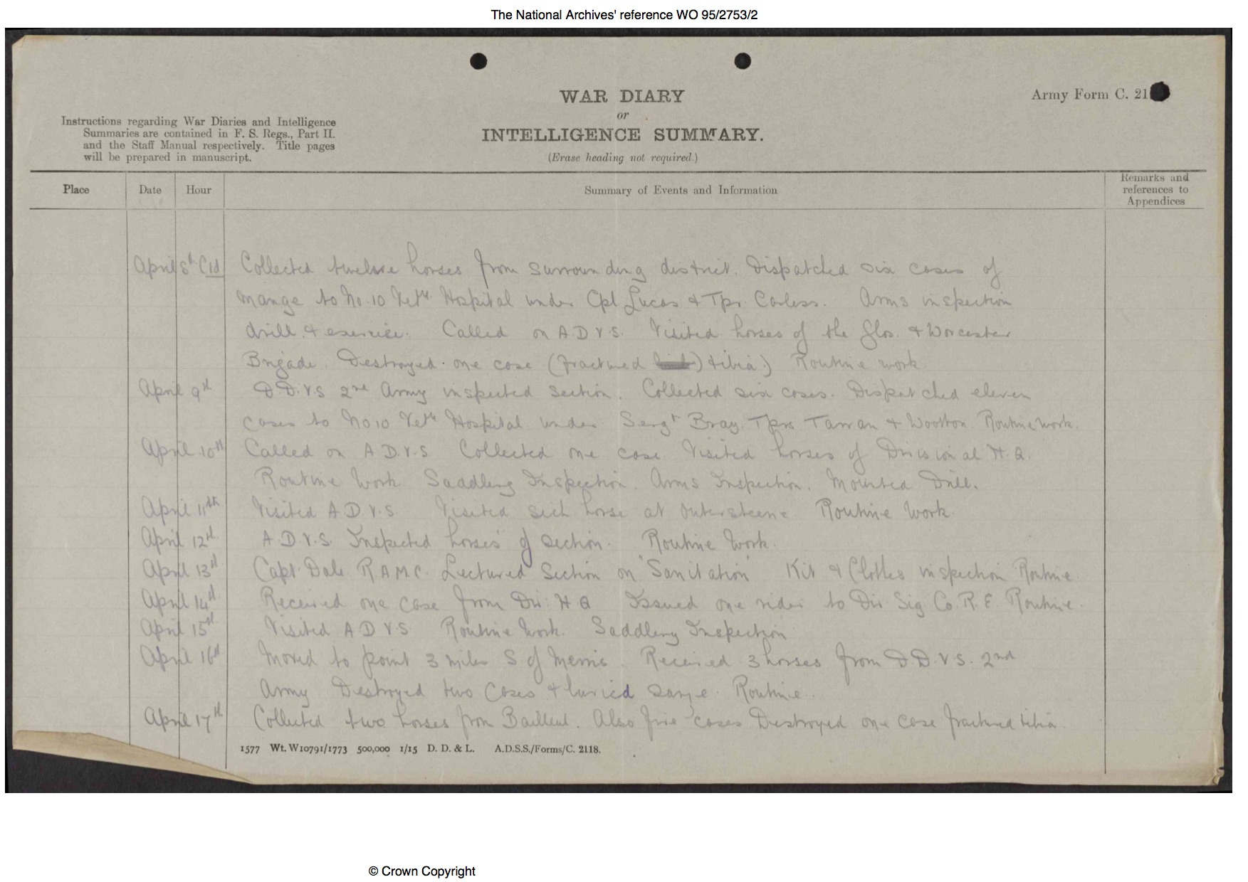 Page 4 1:1 South Midland Mobile Veterinary Section War Diary