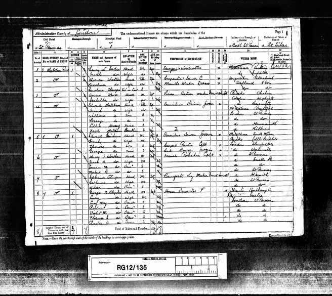 Thomas Wootton Census Return 1891