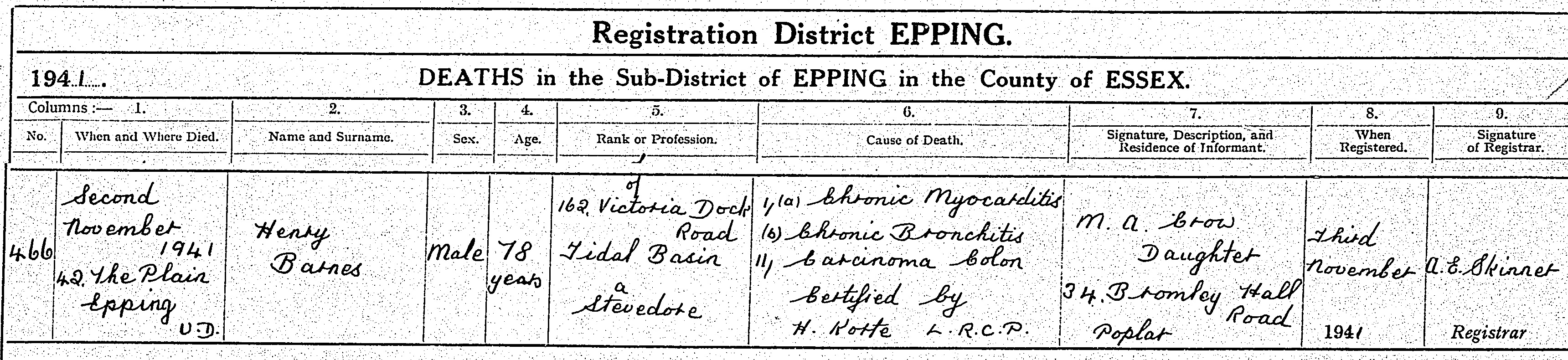 Henry Barnes Death Certificate